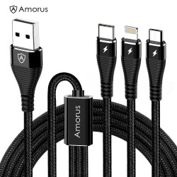 Amorus 3-i-1 Ladekabel 1,2M Sort