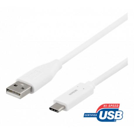 Deltaco USB-C til USB-A Kabel 2 Meter