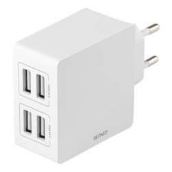 Deltaco USB Wall Charger 4x USB-A