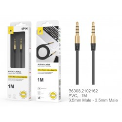 Mini Jack kabel 1,0M AUX Sort 4 pin