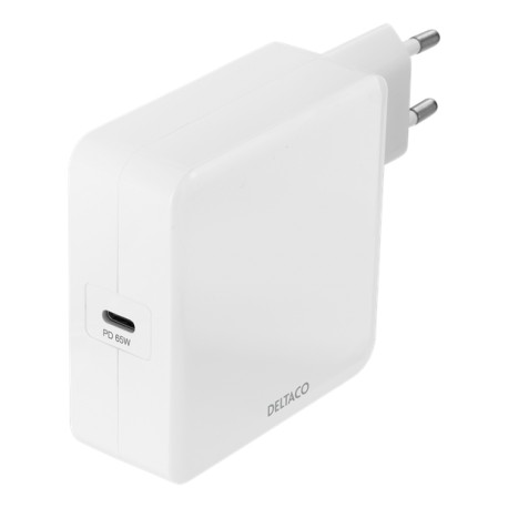 DELTACO USB-C PD wall charger, 65 W, whi