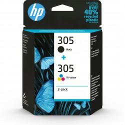HP 305 2-Pack Tri-color Black Original