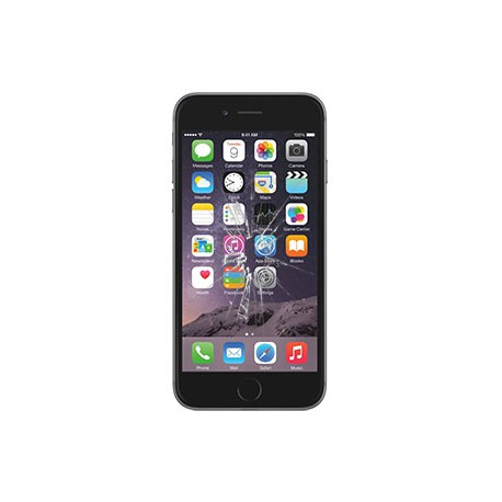 iPhone 6S Plus Glas Rep. Sort BG-OEM