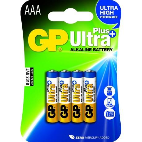 GP ULTRA PLUS ALKALINE AAA LR03 4 stk